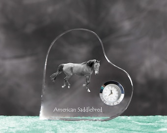 American Saddlebred - crystal clock in the shape of a heart with the image of a pure-bred horse.