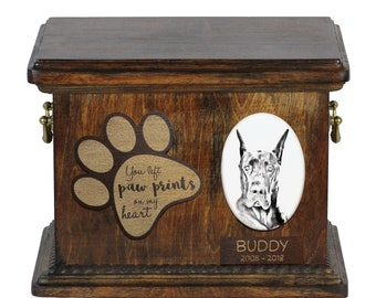 Urn for dog's ashes with ceramic plate and description - Great Dane, ART-DOG Cremation box, Custom urn.