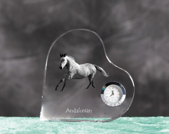 Andalusian - crystal clock in the shape of a heart with the image of a pure-bred horse.