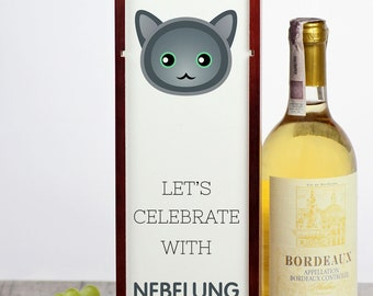 Let's celebrate with Nebelung cat. A wine box with the cute Art-Dog cat