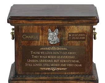 Urn for dog's ashes with relief and sentence with your dog name and date - French Bulldog, ART-DOG. Cremation box, Custom urn.