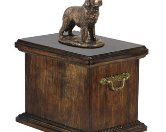 Urn for dog's ashes with a Newfoundland statue, ART-DOG Cremation box, Custom urn.