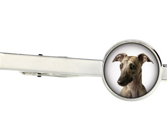 Whippet. Tie clip for dog lovers. Photo jewellery. Men's jewellery. Handmade
