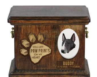 Urn for dog ashes with ceramic plate and sentence - Geometric Bull Terrier, ART-DOG. Cremation box, Custom urn.