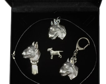 NEW, Bull Terrier, dog keyring, necklace, pin and clipring in casket, DELUXE set, limited edition, ArtDog . Dog keyring for dog lovers