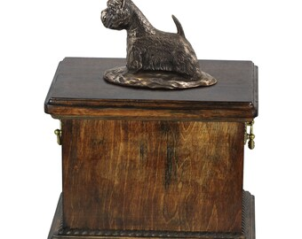 Urn for dog's ashes with a West Highland White Terrier statue, ART-DOG Cremation box, Custom urn.