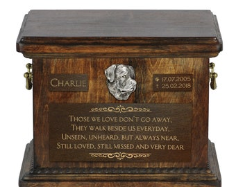 Urn for dog's ashes with relief and sentence with your dog name and date - Rottweiler, ART-DOG.
