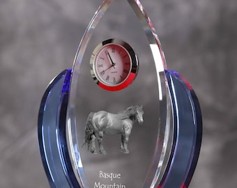 Basque Mountain Horse-   crystal clock in the shape of a wings with the image of a pure-bred horse.