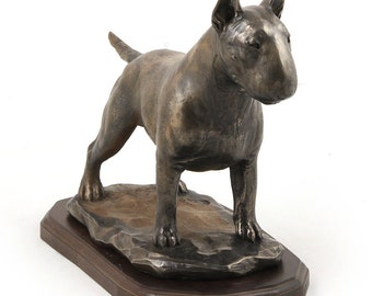 Bull terrier, exclusive dog woodenbase statue, limited edition, ArtDog