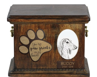 Urn for dog's ashes with ceramic plate and description - Saluki, ART-DOG Cremation box, Custom urn.