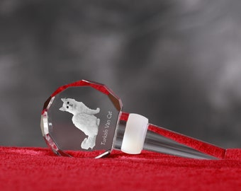 Turkish Van, Crystal Wine Stopper with cat, Wine and Cat Lovers, High Quality, Exceptional Gift. New Collection