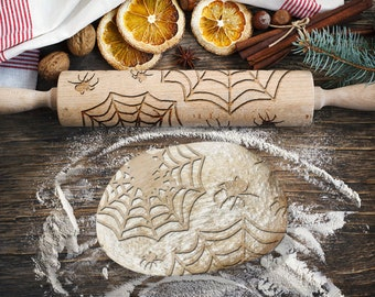 SPIDERS. Engraved rolling pin for Cookies, Embossing Rollingpin, Laser Engraved Rolling-pin. Decorating Roller