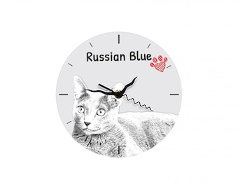 Russian Blue, Free standing MDF floor clock with an image of a cat.
