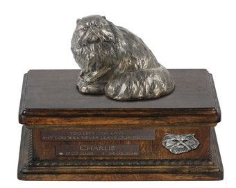 Exclusive Urn for cat ashes with a Persain Cat statue, relief and inscription. ART-DOG. New model. Cremation box, Custom urn.
