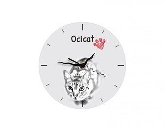 Ocicat, Free standing MDF floor clock with an image of a cat.