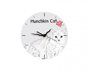 Munchkin, Free standing MDF floor clock with an image of a cat.