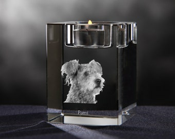 Pumi - crystal candlestick with dog, souvenir, decoration, limited edition, Collection