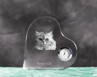 Persian Cat - crystal clock in the shape of a heart with the image of a pure-bred cat.