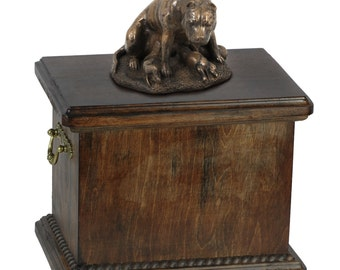Urn for dog's ashes with a American Staffordshire Terrier mother statue, ART-DOG Cremation box, Custom urn.
