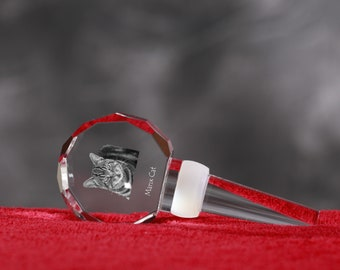Manx Cat, Crystal Wine Stopper with cat, Wine and Cat Lovers, High Quality, Exceptional Gift. New Collection