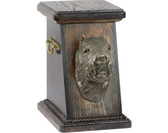 Urn for dog's ashes with a Flandres Cattle Dog statue, ART-DOG Cremation box, Custom urn.