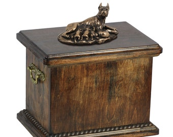 Urn for dog's ashes with a Boxer mum statue, ART-DOG Cremation box, Custom urn.