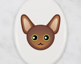 A ceramic tombstone plaque with a Oriental cat. Art-Dog cute cat