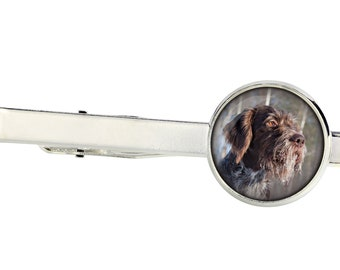 German Wirehaired Pointer. Tie clip for dog lovers. Photo jewellery. Men's jewellery. Handmade