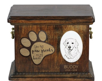 Urn for dog's ashes with ceramic plate and description - Kuvasz, ART-DOG Cremation box, Custom urn.