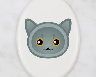 A ceramic tombstone plaque with a British Shorthair cat. Art-Dog cute cat