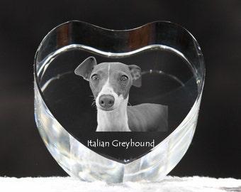 Italian Greyhound, crystal heart with dog, souvenir, decoration, limited edition, Collection