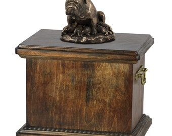 Urn for dog's ashes with a English Bulldog mum statue, ART-DOG Cremation box, Custom urn.