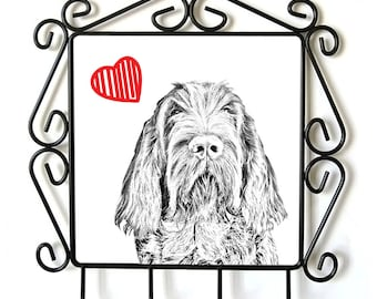 Spinone Italiano-clothes hanger with an image of a dog. Collection. Dog with heart.