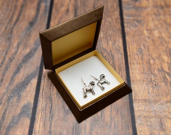 Schnauzer - Silver-plated earrings with an image of a pure-bred dog
