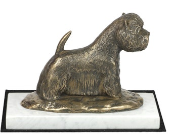 West Highland White Terrier, dog white marble base statue, limited edition, ArtDog. Made of cold cast bronze. Perfect gift. Limited edition