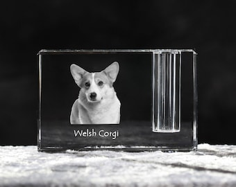 Welsh Corgi, crystal pen holder with dog, souvenir, decoration, limited edition, Collection