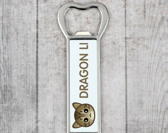 A beer bottle opener with a Dragon Li cat. A new collection with the cute Art-Dog cat