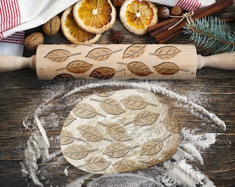 LEAVES. Engraved rolling pin for Cookies, Embossing Rollingpin, Laser Engraved Rolling-pin. Decorating Roller