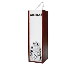 Bloodhound - Wine box with an image of a dog.