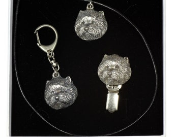 NEW, West Highland White Terrier, dog keyring, necklace and clipring in casket, ELEGANCE set, limited edition, ArtDog