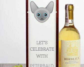 Let's celebrate with Peterbald cat. A wine box with the cute Art-Dog cat