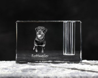 Rottweiler, crystal pen holder with dog, souvenir, decoration, limited edition, Collection