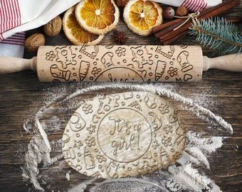 BABY SHOWER GIRL. Engraved rolling pin for Cookies, Embossing Rollingpin, Laser Engraved Rolling-pin. Decorating Roller