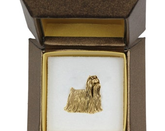 NEW, Shih Tzu, dog pin, in casket, gold plated, limited edition, ArtDog