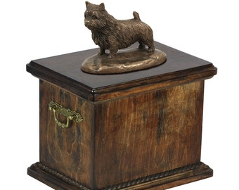 Urn for dog's ashes with a Norwich Terrier statue, ART-DOG Cremation box, Custom urn.