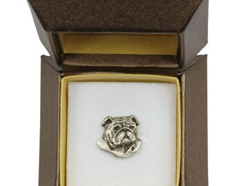NEW, Bulldog, English Bulldog (head), dog pin, in casket, limited edition, ArtDog