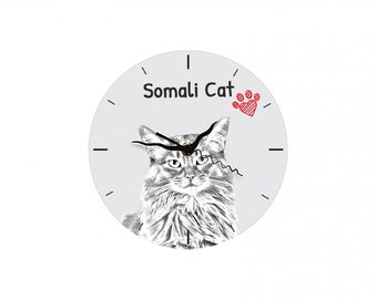Somali cat, Free standing MDF floor clock with an image of a cat.