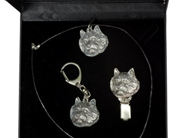 NEW, Norwich Terrier, dog keyring, necklace and clipring in casket, DELUXE set, limited edition, ArtDog . Dog keyring for dog lovers