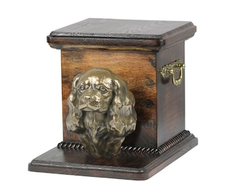 Urn for dog's ashes with a standing statue -King Charles Spaniel, ART-DOG Cremation box, Custom urn. Cremation box, Custom urn.