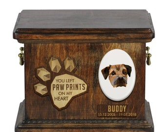 Urn for dog ashes with ceramic plate and sentence - Geometric Border Terrier, ART-DOG. Cremation box, Custom urn.